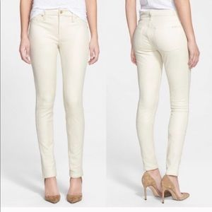 7 FOR ALL MAN KIND SEAMED SKINNY IN CREAM CRACKLE